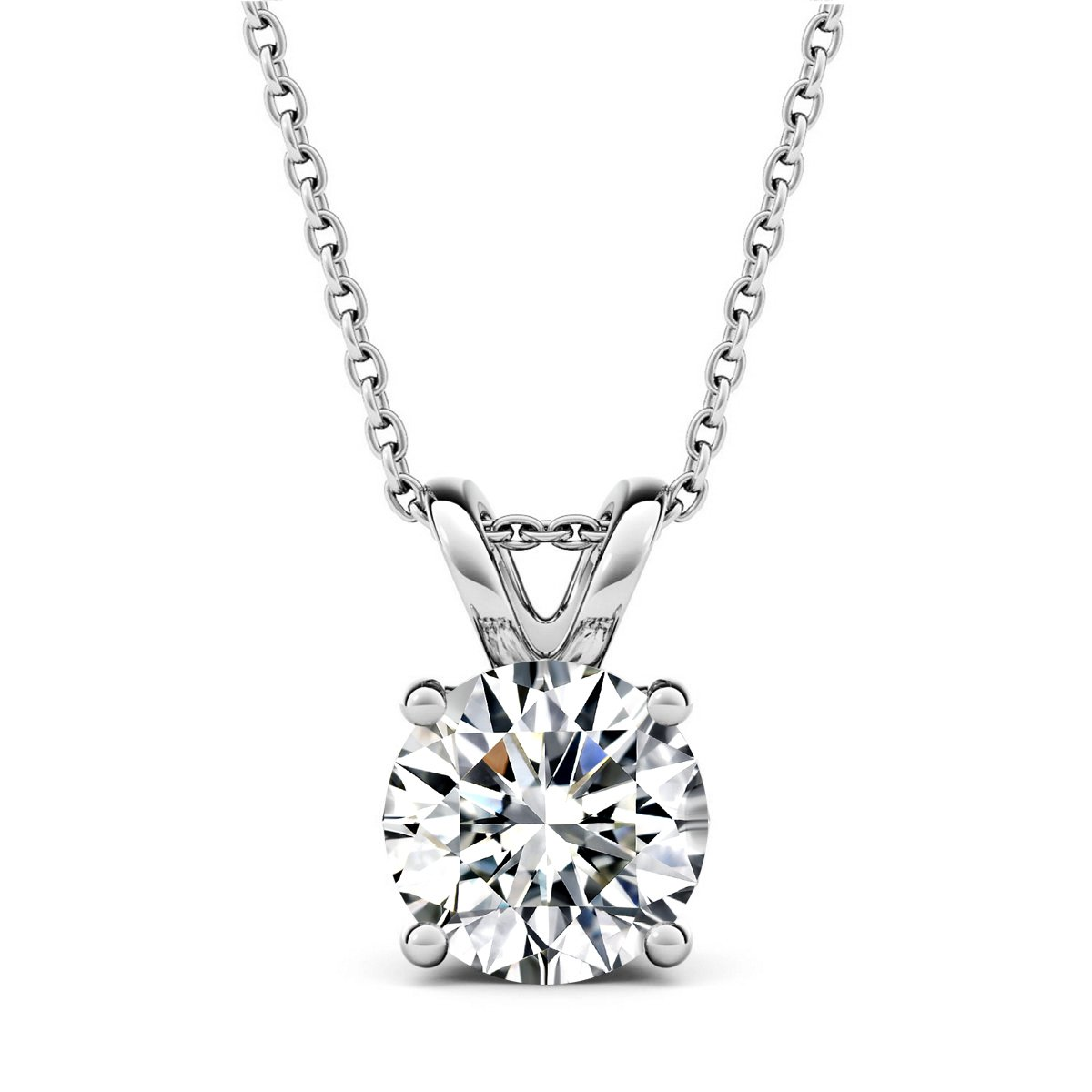 AllenCOCO 14K Gold Plated 2.0 Carat (D Color, VVS Clarity) Simulated Diamond CZ Solitaire Silver Pendant Necklace 16'' - 18''