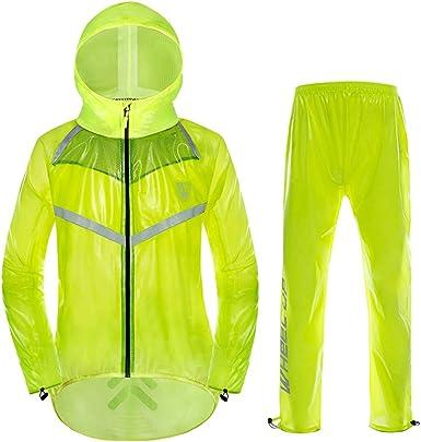 Gwell Traje De Lluvia Unisex Ultra Delgado Con Alta Visibilidad Reflectiva Para Ciclistas Chaqueta Impermeable De Lluvia Y Pantalones Amazon Es Ropa Y Accesorios