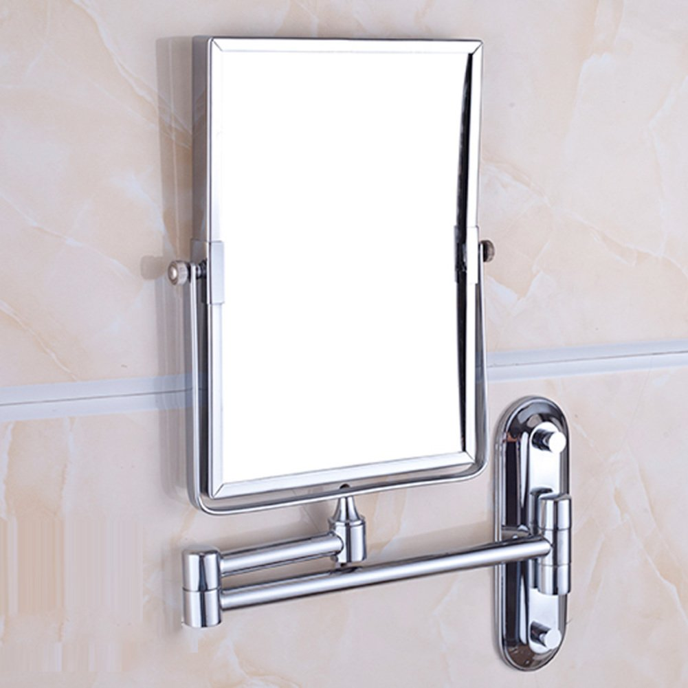 Bathroom makeup mirror wall hanging folding double-sided beauty dressing stretching-A WYMWYJ