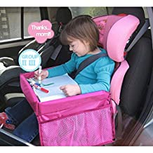 YUMSUM Travel Lap Tray,Foldable Waterproof Baby Car Seat Table with Safety Belt for Kids Snack Play Drawing Board Organizer (Pink)