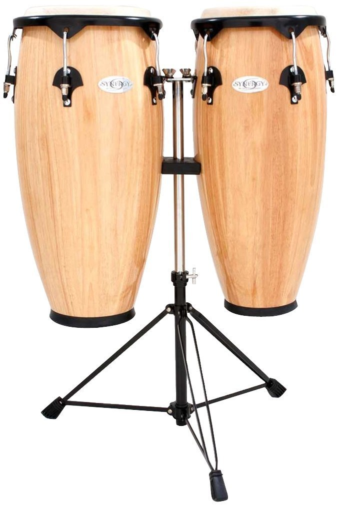 Toca Synergy Wood Conga Set w/ Double Stand - Natural