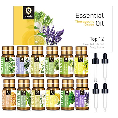 PYRRLA Essential Oils Top 12×5ML 100% Pure Therapeutic Grade Aromatherapy Oil Set with 4 Droppers (Ylang Ylang Lavender)