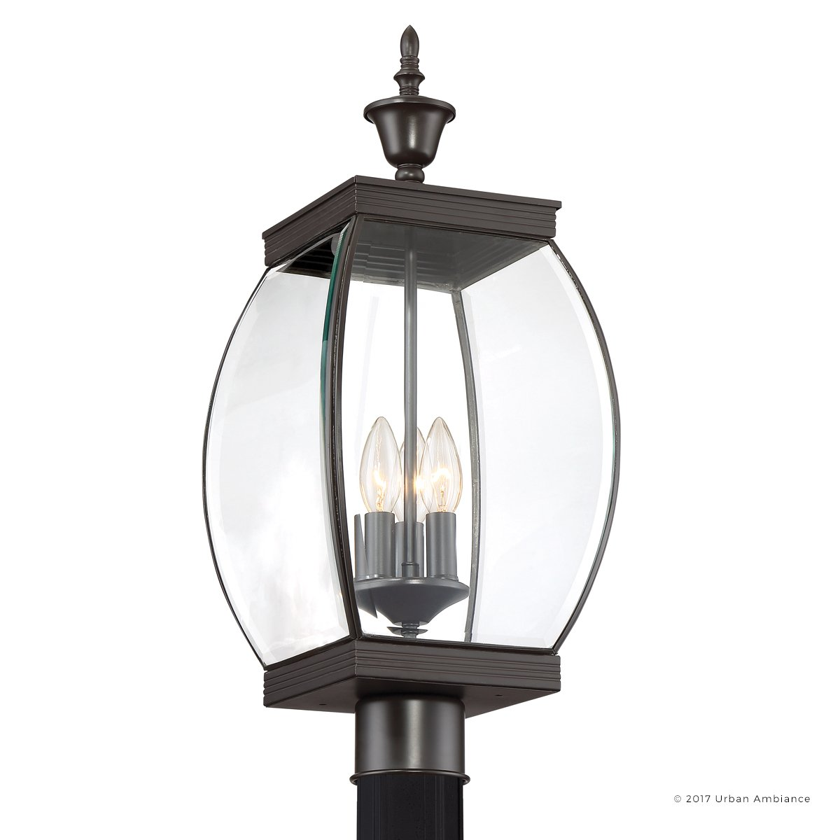 Luxury Colonial Outdoor Post Light, Large Size: 22''H x 9''W, with Transitional Style Elements, Bowed Design, Gorgeous Dark Medieval Bronze Finish and Beveled Glass, UQL1174 by Urban Ambiance by Urban Ambiance