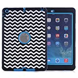chevron ipad protective case - iPad Air Case, iPad A1474/A1475/A1476 Case, Hocase Shock Absorbent Hybrid Dual Layer Hard Silicone Rubber Protective Case with Cute Pattern for iPad Air 1st Generation (2013) - Chevron / Sky Blue