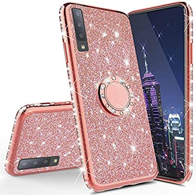 LEECOCO Samsung A50 Case Glitter Bling Diamond Sparkly Luxury Plating Silicon TPU Soft Shockproof Cover with Ring Stand Holder Compatible with Samsung Galaxy A50 Plating TPU Red KDL
