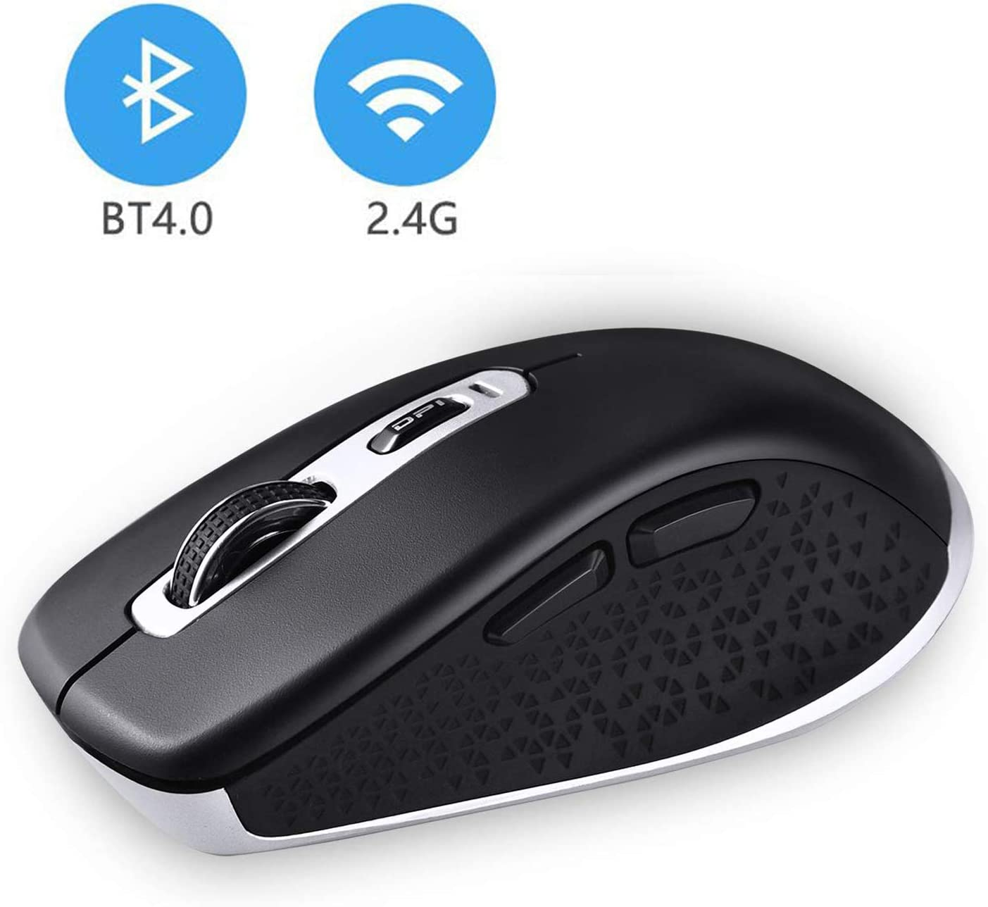 Wireless Bluetooth Mouse, Cimetech 2.4GHz Dual Mode Slim Noiseless Optical Wireless Mouse with 2400 DPI Compatible for PC, Laptop, Mac, Android, Windows (BT4.0+2.4G Dual Mode - Black)