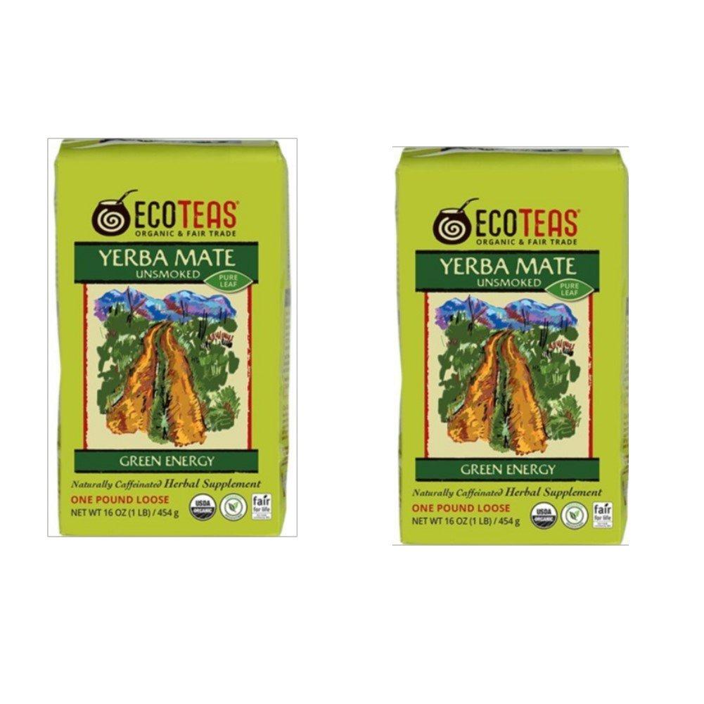 ECOTEAS Organic Unsmoked Yerba Mate Tea Pure Loose Leaf 1 LB (Pack of 2)
