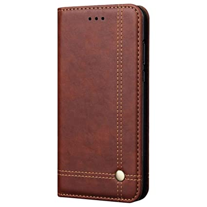 cheap for discount e6a7f 7d3dc Pirum Magnetic Flip Cover for Samsung Galaxy A6 Plus Leather Case Wallet  Slim Book Cover with Card Slots Cash Pocket Stand Holder - Brown