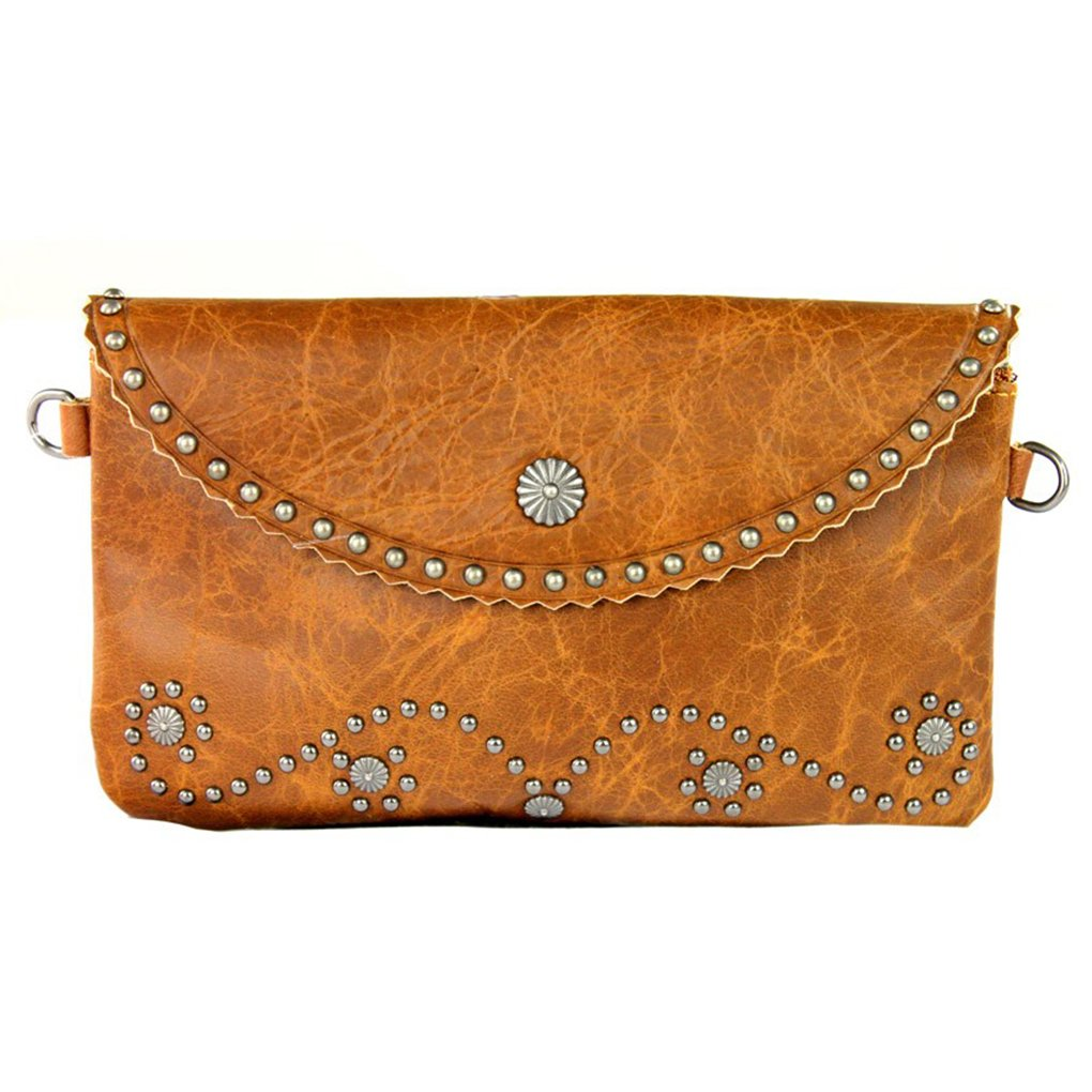 Black Studded Concho w Fringe Genuine Leather Clutch Crossbody Shoulder Handbag Built in Wallet