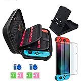JUSONEY Accessori per Nintendo Switch, Include Custodia da Trasporto per Nintendo Switch/Supporto Regolabile/Pellicola Protettiva in Vetro Temperato (Confezione da 2), Nintendo Switch Custodia con