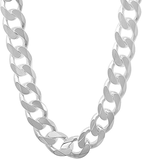 """Details about  /Flat Open Curb Mens 925 Sterling Silver Chain Necklace 18/"""" Width 5MM"""