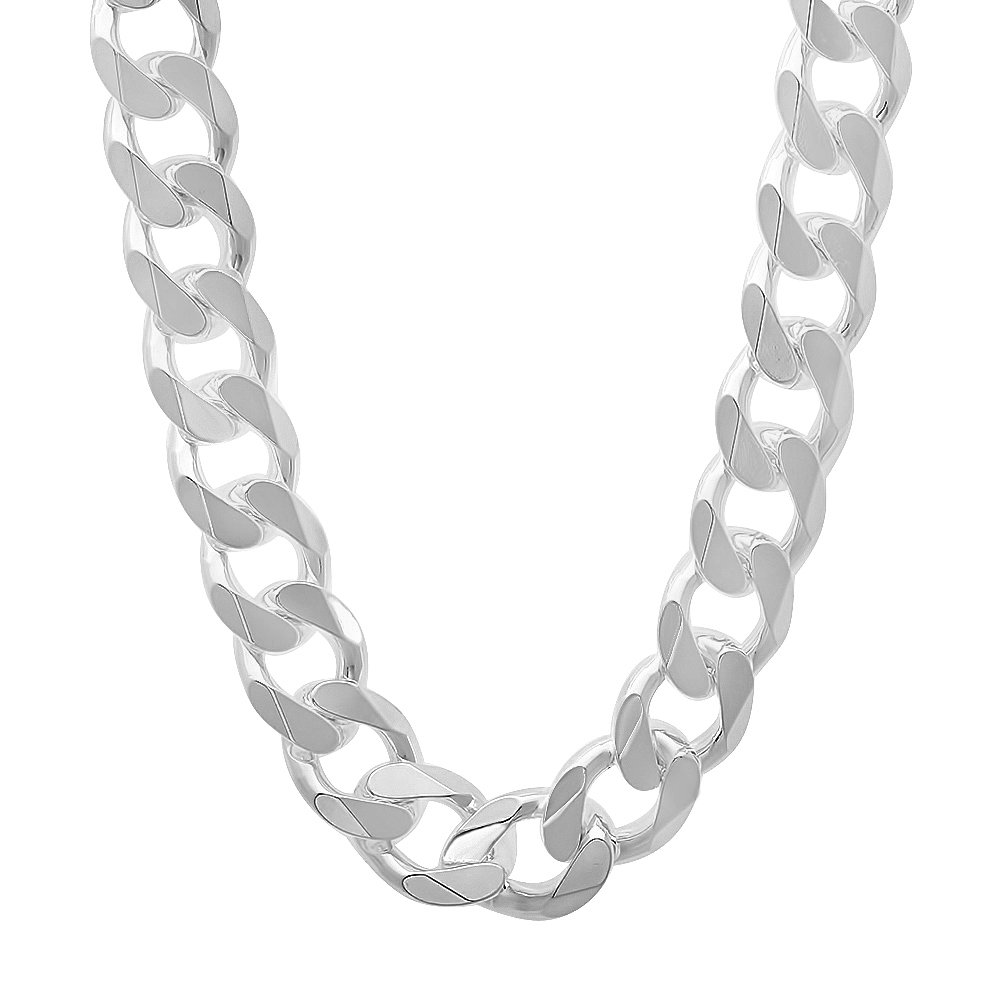 925 Sterling Silver Nickel-Free 11mm Beveled Cuban Link Chain Necklace, 18'' + Bonus Polishing Cloth