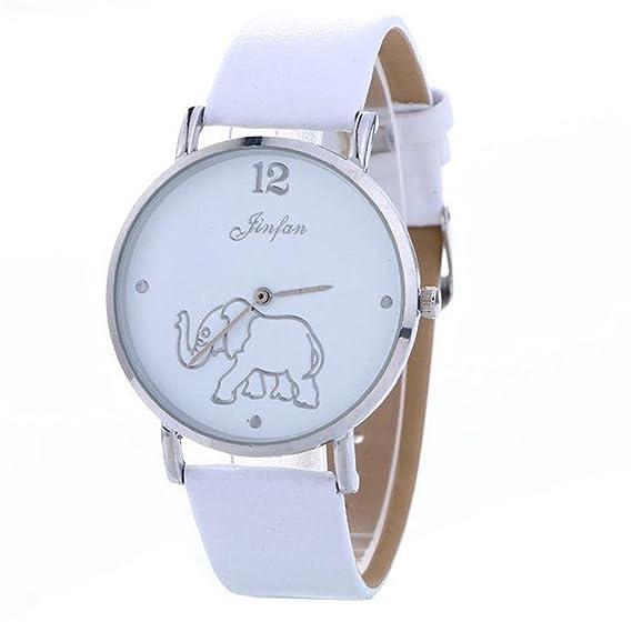 Mujer Reloj De Pulsera Bohemian estilo elefante Diseño Analog Quartz Reloj Blanco: Amazon.es: Relojes