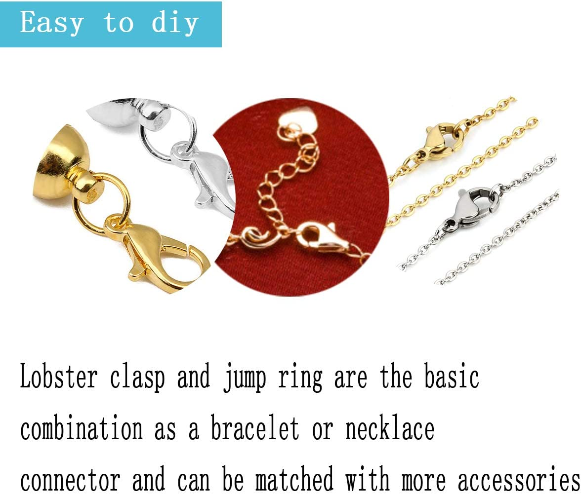 300Pcs Alloy Lobster Claw Clasps with Open Jump Rings,Necklace Fasteners Hook for DIY Jewelry Making Accessories 10x5mm-Gun Black