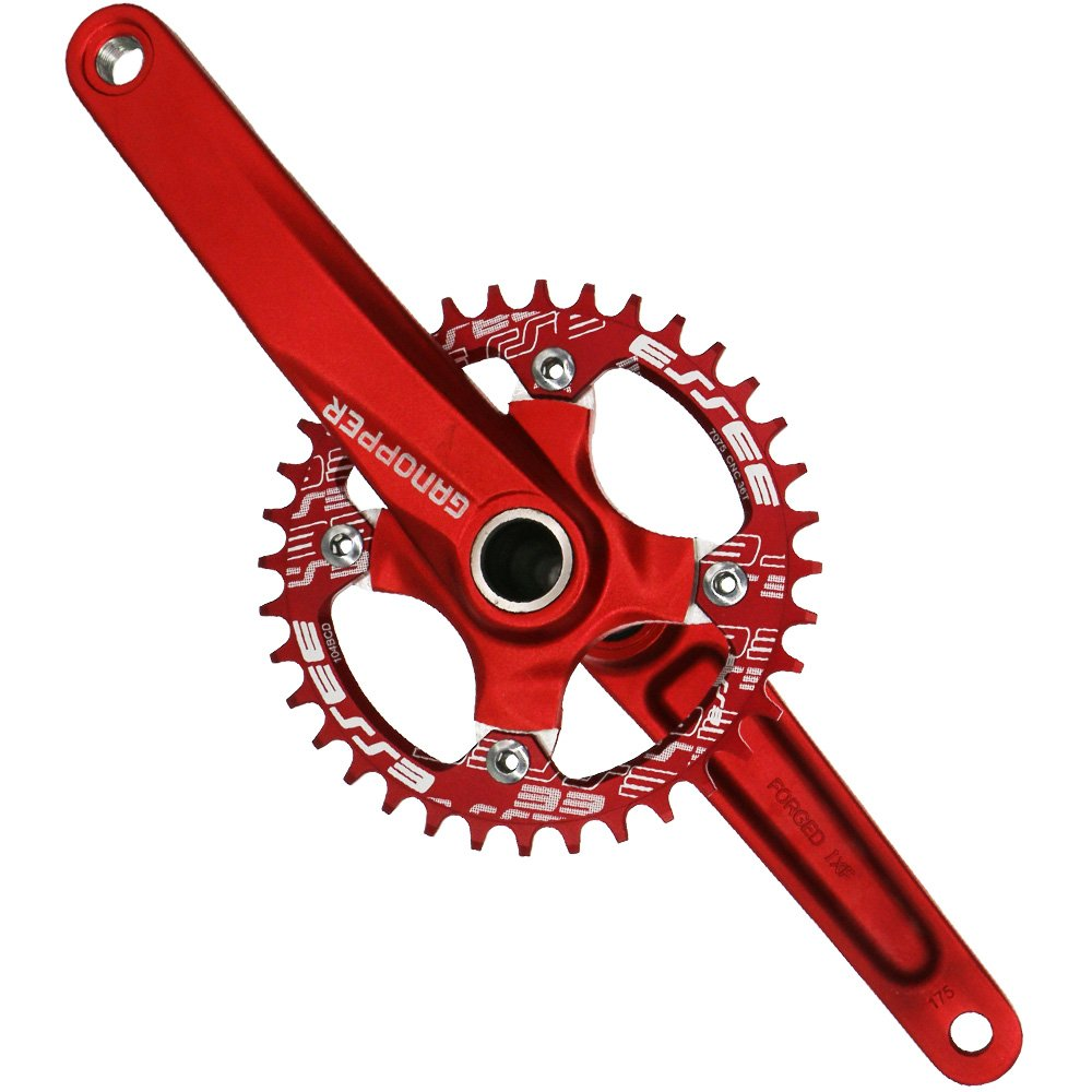 ixf 34T 36T MTB All-in-One - Bielas Chainwheel 104 BCD 170 mm con pedalier para bicicleta plegable bicicleta de carretera de montaña Refit Rojo rosso ...