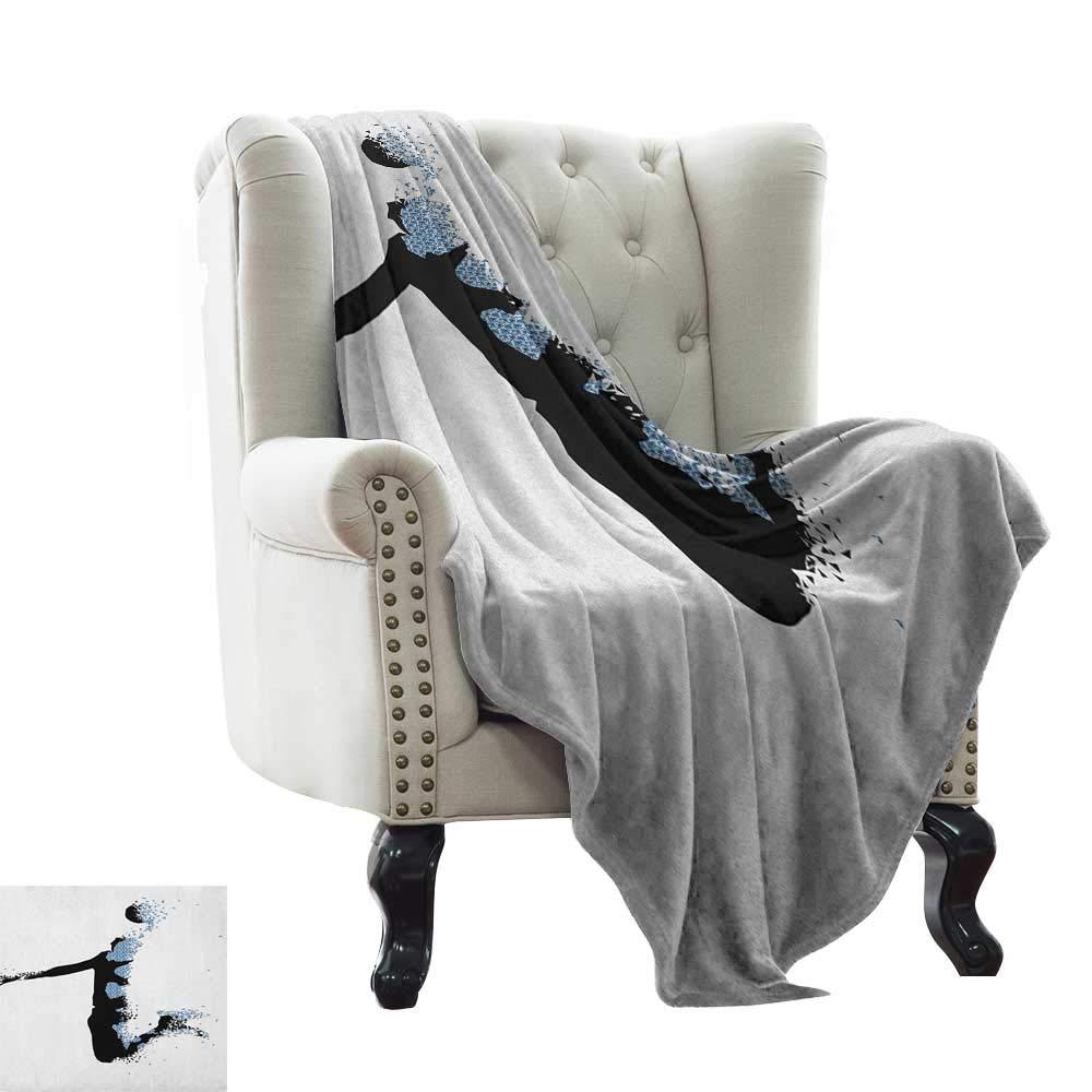"Cool Blanket Teen Room,Modern and Stylized Basketball Player in Fractal Pattern Artistic Design, Black Pale Blue Soft Summer Cooling Lightweight Bed Blanket 60""x78"""