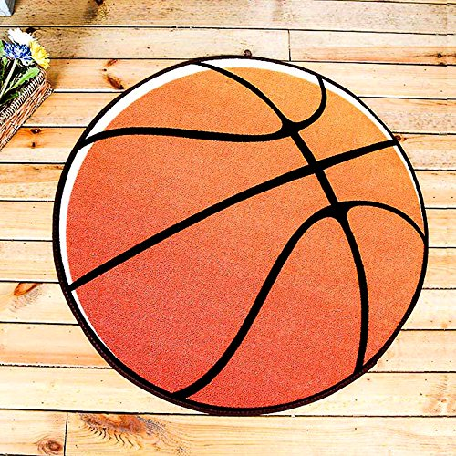 yazi Basketball Rug Round Kids Sports Area Rug Non-Slip Backing for Bedroom Creative Sports Themed Round Carpet Playroom 24'