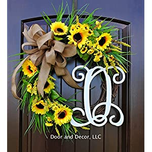 "Fall Yellow Sunflower Door Wreath for Thanksgiving Door Decor with Monogram Letter Choice in 22"" Dia 92"