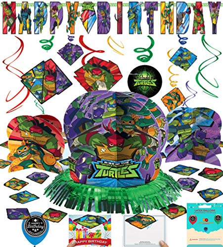 Rise of The Teenage Mutant Ninja Turtles Party Supplies Birthday Room Decorating Bundle of Table Centerpiece Hanging Swirls Add Your Own Age Banner Birthday Card and Balloon Decoration -