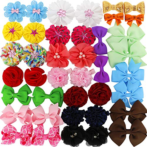 Grosgrain Ribbon Boutique Hair Bows Flowers clips For Baby Girls Teens Toddlers Newborn Set Of 40