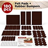 Extra-Soft Felt Furniture Pads Set - 180 Pieces Including Bonus Rubber Bumper Pads - Thick Self-Stick Extra Adhesive Hardwood Floor Protectors, Best Protection for Your Hardwood Floors - Brown