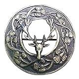 AAR Men,s Scottish Stag Head Kilt Brooch Fly Plaid Antique Finish 3'' (7cm) diameter S