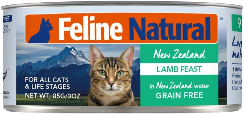 Feline Natural BPA-Free & Gelatin-Free Canned Cat Food, Lamb 3oz 24 Pack