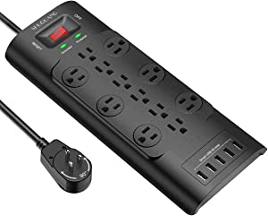 Surge Protector, SHUGUANG Power Strip with 12 Outlets and 5 USB Ports, Heavy Duty 6 Feet Flat Plug Extension Cord (1875W/15A) for Multiple Devices Smartphone Tablet Laptop Computer, ETL Listed
