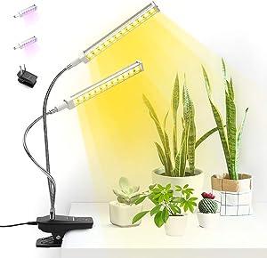 Tikaton Super Bright 96 LEDs Sunlight Full-Spectrum Grow Lamp & 96 LEDs Red-Blue Spectrum Bulbs, Auto On & Off 3/6/12 Timer, Dual Head Adjustable Gooseneck Desk Plant Light, Replaceable Bulb