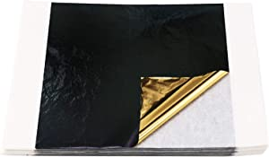 100 Sheets 5.1 by 5.3 Inches Imitation Gold Leaf Sheets - KINNO Black and Gold on Both Sides Foil Multipurpose for Home, Wall, Frame, Ceiling, Furniture Decoration