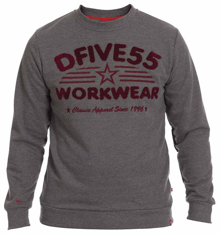D555 By Duke Mens Crew Neck Sweatshirt, Workwear Boucle Embroidery, Dark Grey (M-XXL)