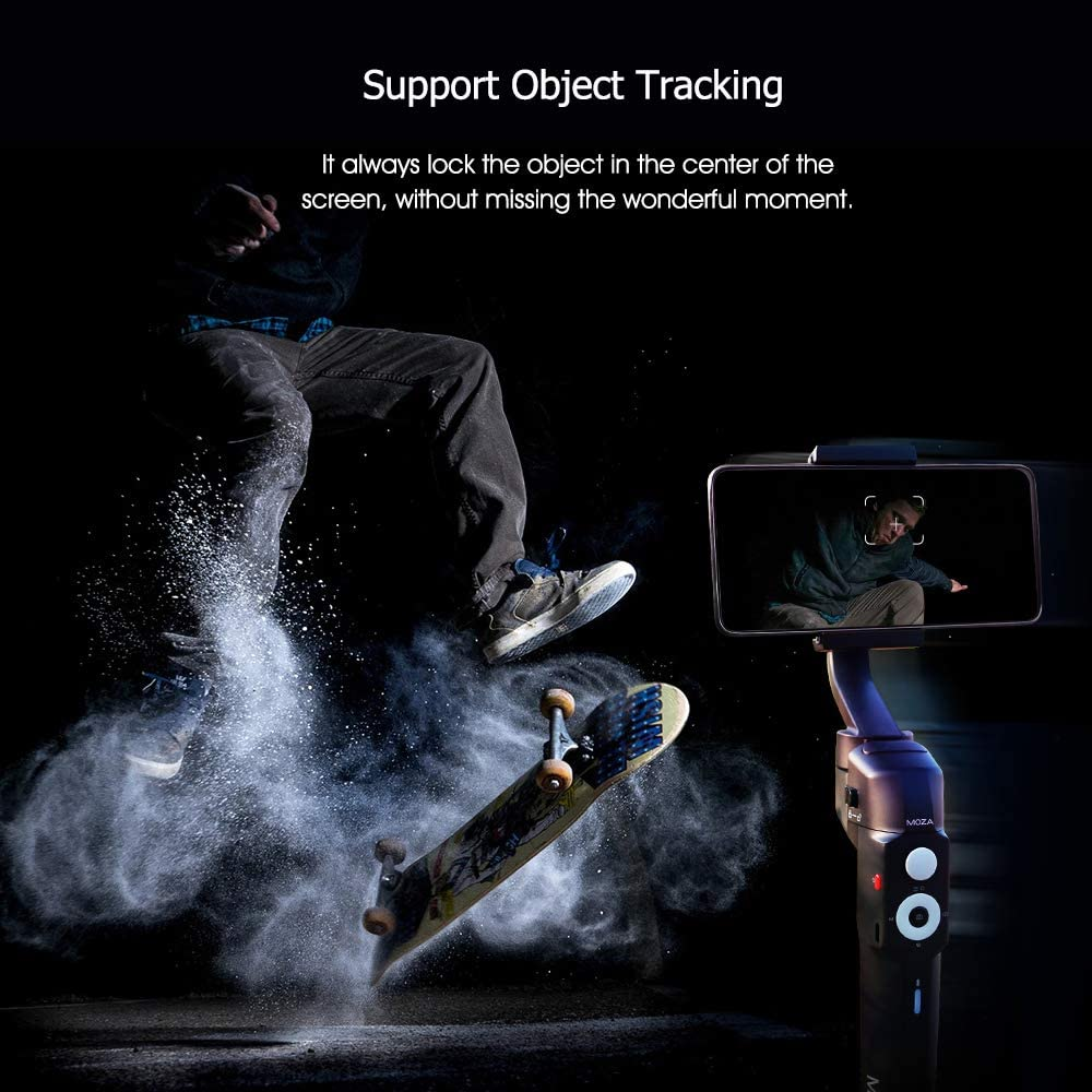 RuleaxAsi Mini-S Foldable Handheld 3-Axis Smartphone Gimbal Stabilizer Object Tracking Follow Focus Zoom Time-Lapse 280g Payload with 1//4 Inch Screw Hole Mini Tripod Storage Pouch for Phone