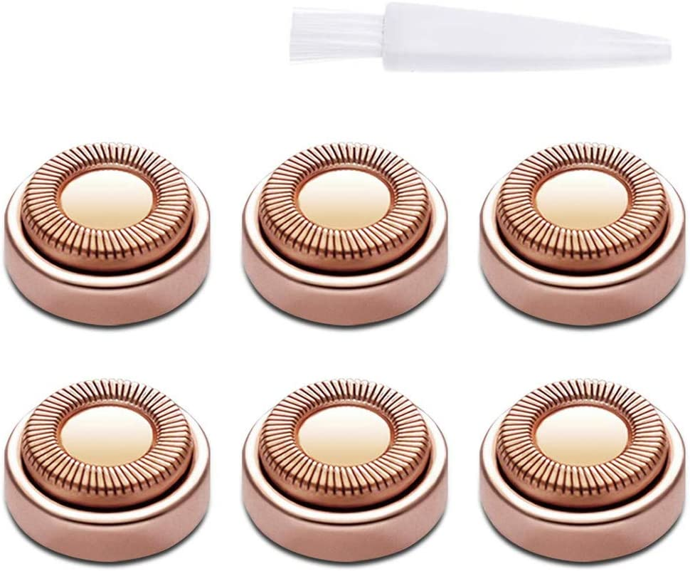 Facial Hair Remover Replacement Heads, 6pcs Hair Removal Replacing Blades with Brush Fit for Women Face, Leg, Armpit, Back Cleaning Rose Gold