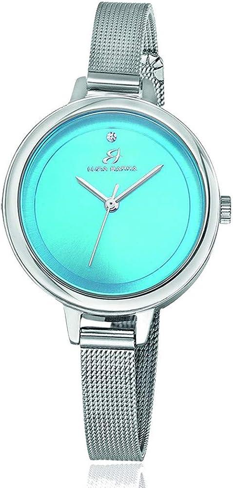 Luca Barra BW218 - Reloj de Mujer con Esfera Turquesa y Correa de Malla Milano Silver de Acero