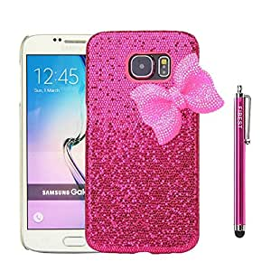 S6 Case,Galaxy S6 Case,FIBEST Luxury 3D Bling Handmade Hard Back Case Cover Protective Skin with Cute Bowknot for Samsung Galaxy S6 VI G920 Rose Pink