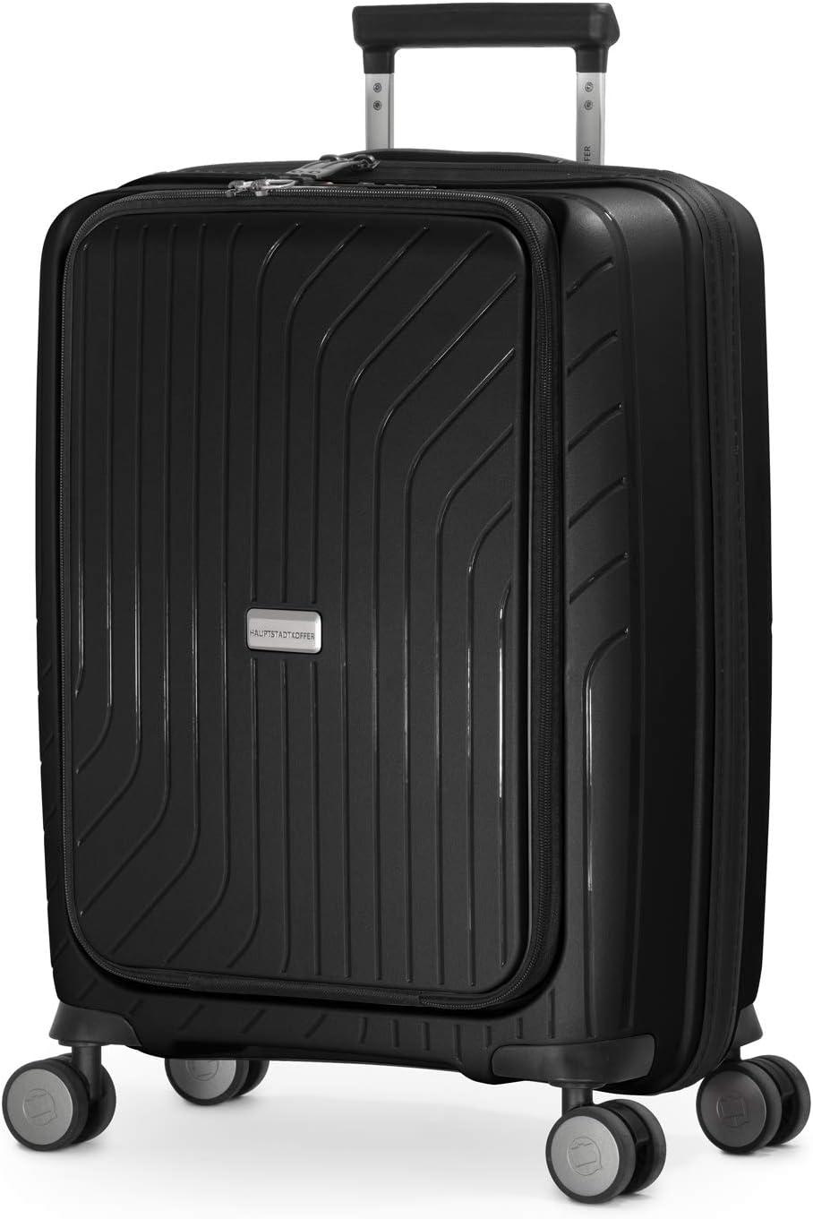 HAUPTSTADTKOFFER - TXL - Equipaje de Mano liviano, maletín con Compartimiento para portátil, Trolley rígido de Polipropileno Resistente, 55 cm, 40 L, Cierre TSA, Negro