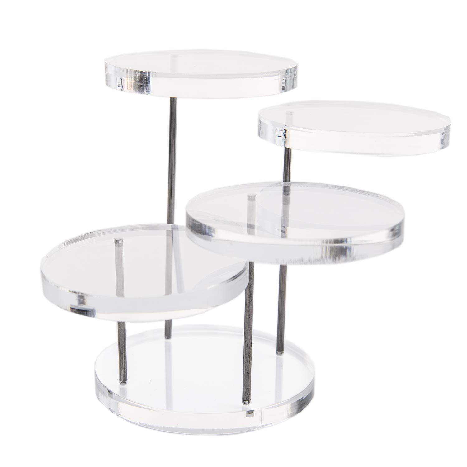 Funnuf 4 Tier Acrylic Rotatable Jewelry Display Stands Rings Earrings, Clear Acrylic