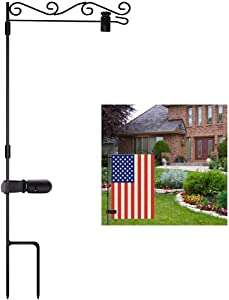 FADDA Garden Flag Stand, Outdoor Pole Stand for Flags Black Metal Proof Paint Garden Flag Pole Holder with Anti-Wind Tiger Clips (Type A)