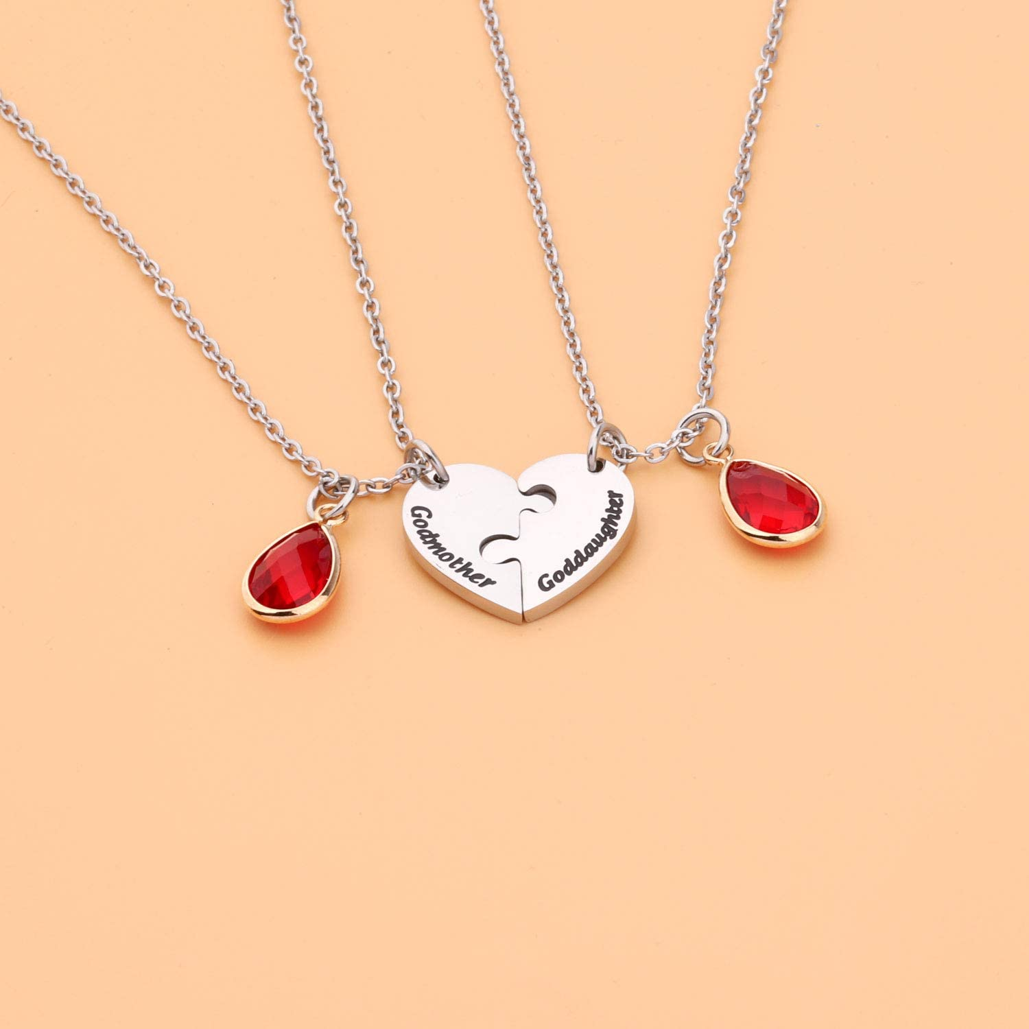 UJIMS Godmother Goddaughter Heart Matching Necklace Set Baptism Jewelry for Godmother First Communion Gift Religious Gift