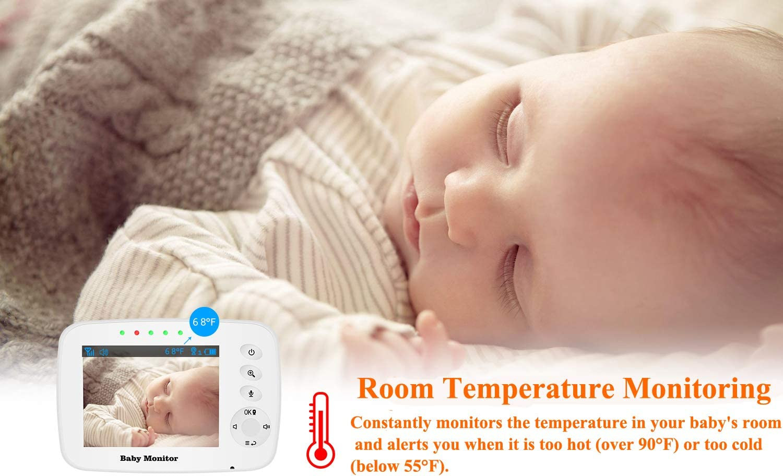 Temperature Sensor Night Vision Two-Way Audio Tresbro Baby Monitor with Wireless Digital Surveillance Camera Lullabie 3.2 Zoomable Newborn Baby Video Monitor