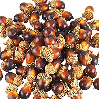 Yarssir 100 Pieces Craft Acorns Artificial Acorn Decor Fake Fruit Props Acorns Decoration Crafting DIY Home Party Wedding Decor Thanksgiving Christmas Festival, 2 Colors(Dark Brown-100 Pack)