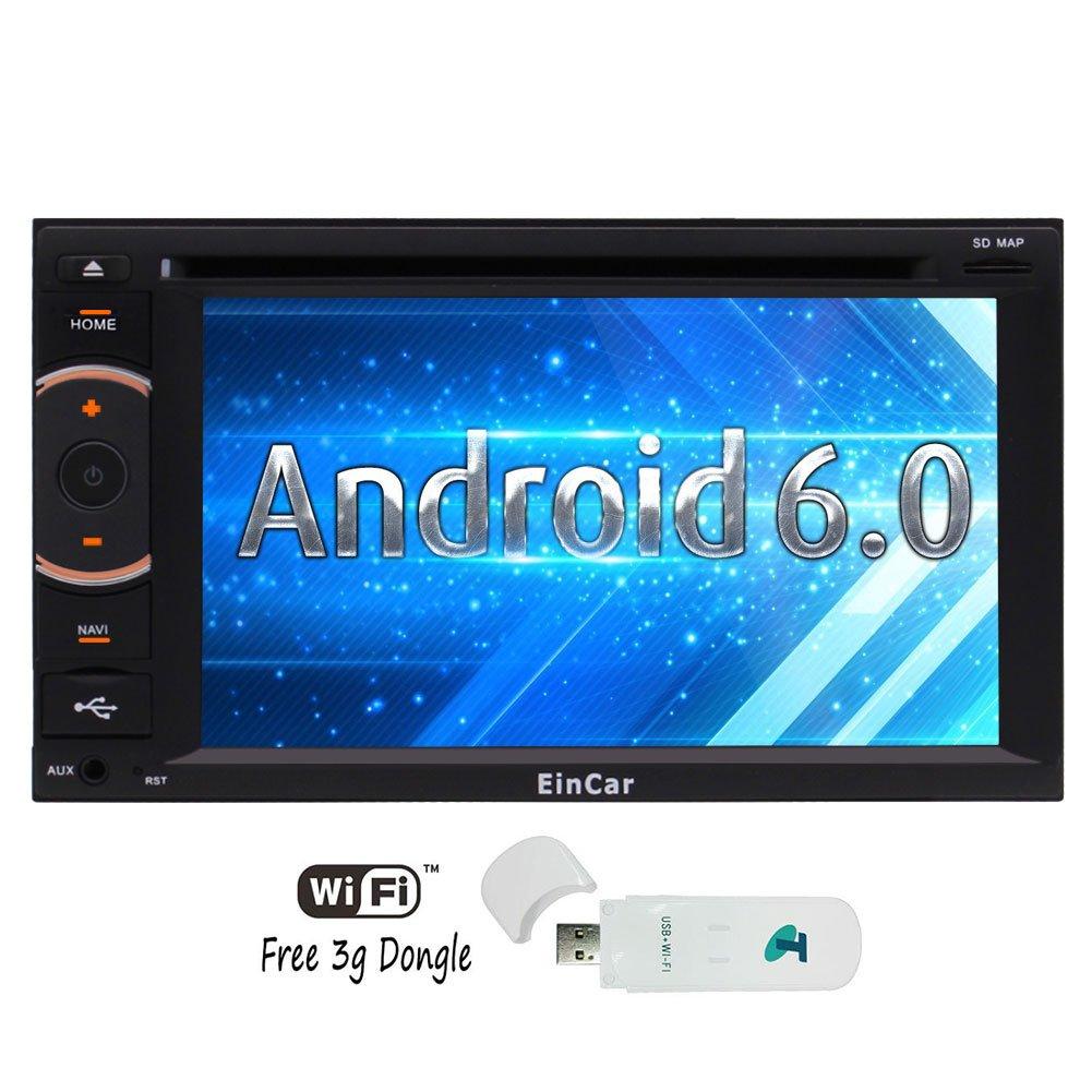 EinCar 2 Dinサイズ純正なAndroid 6.0カーステレオシステム 6.2インチ静電式タッチスクリーン+DVDプレーヤー インダッシュ型GPSナビゲーション ラジオオーディオレシーバー ヘッドユニット Bluetoothミラーリング 内蔵WiFi/3G 1080Pビデオ B072C6K3B5