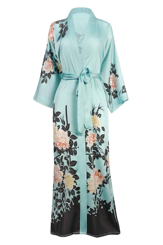 bluesh pink Mineral bluee Old Shanghai Women's Kimono Robe Long  Watercolor Floral
