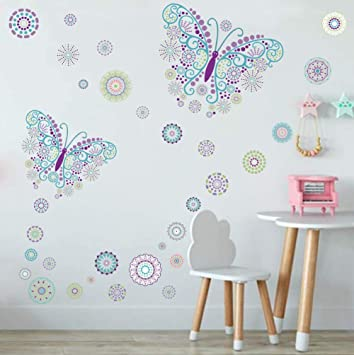 TOARTi Butterfly Wall Decal with Flower Wall Sticker, Creative Romantic  Butterfly for Girls Bedroom Decoration