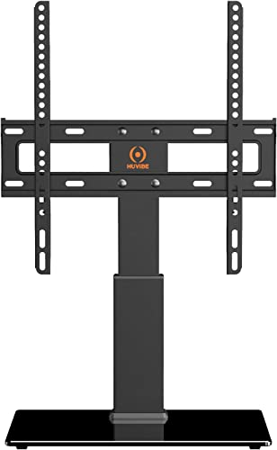 HUVIBE Universal TV Stand Base – Swivel Tilt Table top TV Stand with Mount for Most 32 to 55 inch Flat Screens, Level and Height Adjustable with Tempered Glass, Hold up to 88lbs Screens