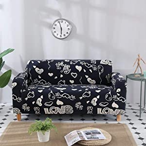 Sofa cover Printed Polyester Sofa Slipcover,Strech Universal Elastic Furniture Protector for Chair Loveseat Recliner Couch Cover-12 4 Seaters