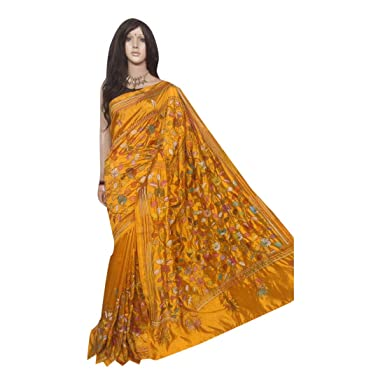 87496f4f4 Amazon.com: Mustard Kantha Stitch Saree Dupion Silk Indian Formal Summers  Women Sari Bengal Weavers 187a: Clothing