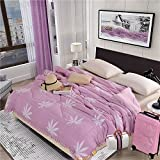 Polyester bed/bedding Warmth Full/Queen/Full/Twin Size Comforter Duvet Insert,Hypoallergenic Box Stitched,Spring And Autumn Quilt,Maple Leaf-Pink,180×220cm(2.5Kg)