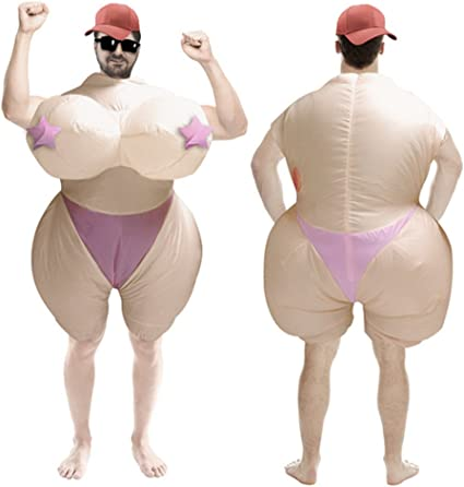 Inflatable Boob Suit Costume Hens Night Bachelorette Party Fat Outfit Adult