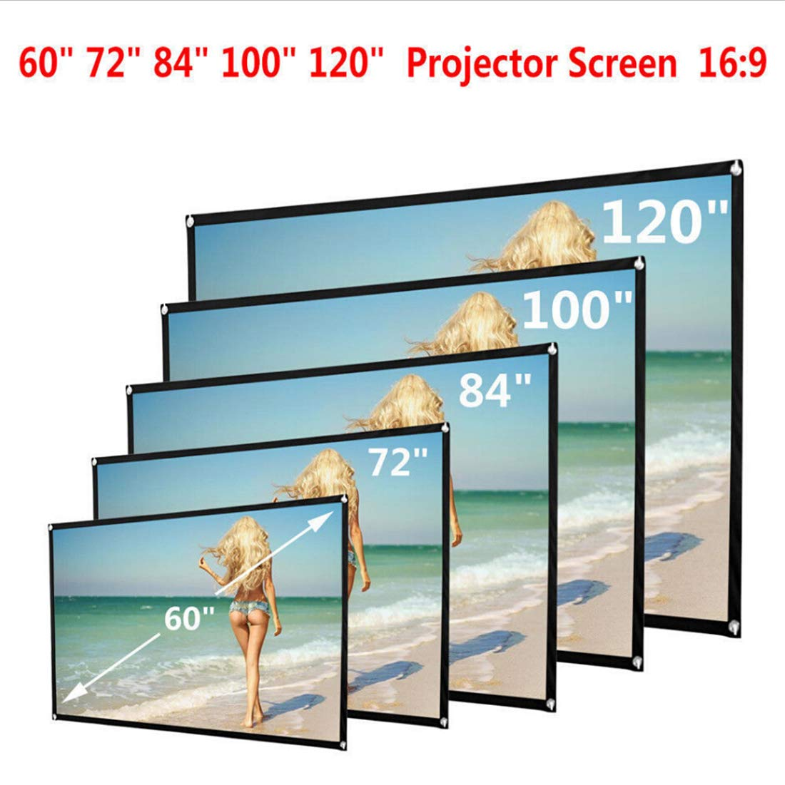 16:9 Portable Manual Projector Screen Indoor Outdoor Movie Screen Cloth (60') MysterLuna